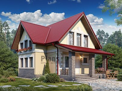 Проект дома с мансардой 11x8 метров, общей площадью 109 м2, из кирпича, c террасой, котельной и кухней-столовой