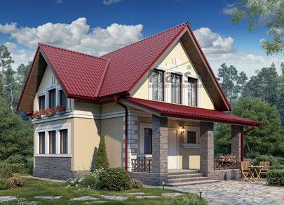 Проект дома с мансардой 11x8 метров, общей площадью 110 м2, из газобетона (пеноблоков), c террасой и котельной
