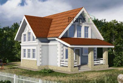 Проект дома с мансардой 11x8 метров, общей площадью 110 м2, из газобетона (пеноблоков), c террасой, котельной и кухней-столовой