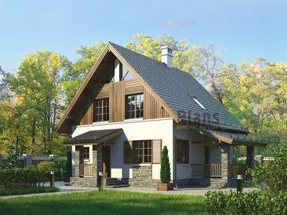 Проект дома с мансардой 11x8 метров, общей площадью 111 м2, из газобетона (пеноблоков), c террасой и котельной