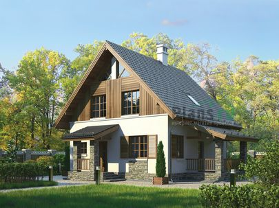 Проект дома с мансардой 11x8 метров, общей площадью 111 м2, из кирпича, c террасой и котельной