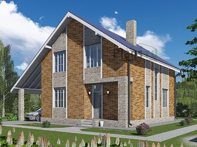 Проект дома с мансардой 11x8 метров, общей площадью 116 м2, из кирпича, c гаражом, котельной и кухней-столовой