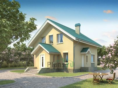 Проект дома с мансардой 11x8 метров, общей площадью 122 м2, из газобетона (пеноблоков), c котельной и кухней-столовой