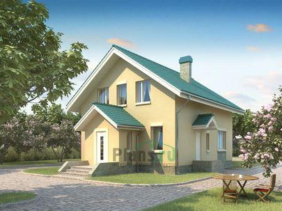 Проект дома с мансардой 11x8 метров, общей площадью 122 м2, из кирпича, c котельной и кухней-столовой