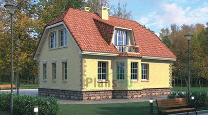 Проект дома с мансардой 11x8 метров, общей площадью 135 м2, из кирпича, c котельной и кухней-столовой