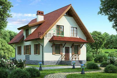 Проект дома с мансардой 11x8 метров, общей площадью 145 м2, из газобетона (пеноблоков), c котельной