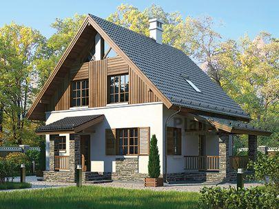 Проект дома с мансардой 11x8 метров, общей площадью 99 м2, из газобетона (пеноблоков), c террасой, котельной и кухней-столовой