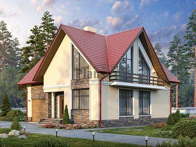 Проект дома с мансардой 11x9 метров, общей площадью 137 м2, из кирпича, c гаражом, котельной и кухней-столовой