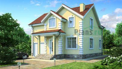 Проект дома с мансардой 11x9 метров, общей площадью 142 м2, из кирпича, c гаражом, котельной и кухней-столовой