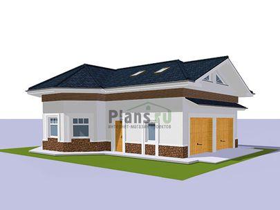 Проект дома с мансардой 11x9 метров, общей площадью 143 м2, из кирпича, c гаражом и котельной