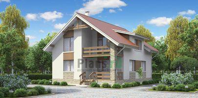 Проект дома с мансардой 11x9 метров, общей площадью 147 м2, из газобетона (пеноблоков), c террасой, котельной и кухней-столовой