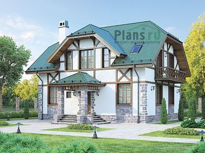 Проект дома с мансардой 11x9 метров, общей площадью 183 м2, каркасного типа, c террасой, котельной и кухней-столовой