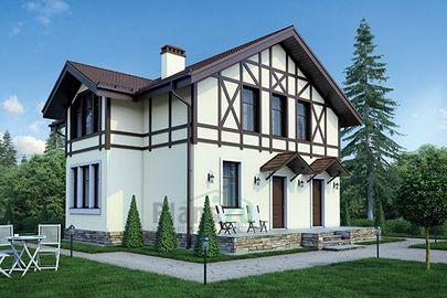 Проект дома с мансардой 12x10 метров, общей площадью 132 м2, из газобетона (пеноблоков), c террасой и котельной