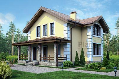 Проект дома с мансардой 12x10 метров, общей площадью 134 м2, из газобетона (пеноблоков), c террасой и котельной