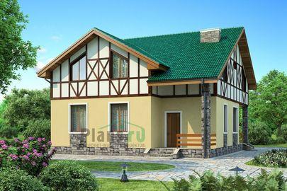 Проект дома с мансардой 12x10 метров, общей площадью 150 м2, из газобетона (пеноблоков), c террасой, котельной и кухней-столовой
