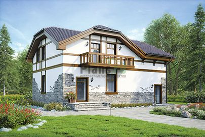 Проект дома с мансардой 12x10 метров, общей площадью 152 м2, из керамических блоков, c гаражом