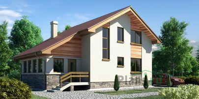 Проект дома с мансардой 12x10 метров, общей площадью 154 м2, из керамических блоков, c котельной и кухней-столовой