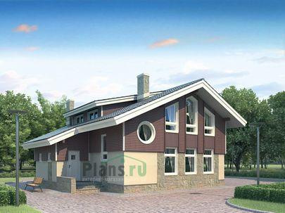 Проект дома с мансардой 12x10 метров, общей площадью 158 м2, из газобетона (пеноблоков), c котельной