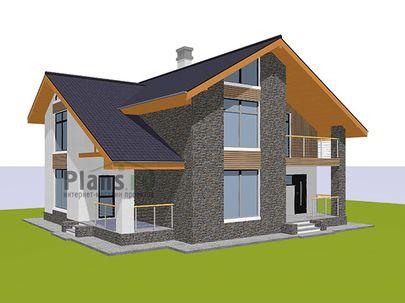 Проект дома с мансардой 12x10 метров, общей площадью 159 м2, из газобетона (пеноблоков), c террасой, котельной и кухней-столовой