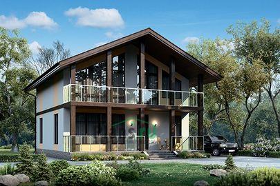 Проект дома с мансардой 12x10 метров, общей площадью 161 м2, из газобетона (пеноблоков), c террасой, котельной и кухней-столовой