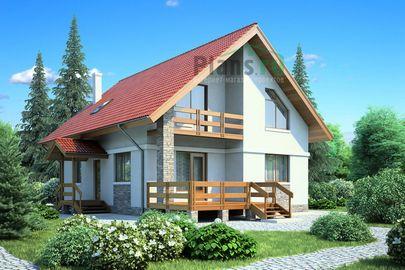 Проект дома с мансардой 12x10 метров, общей площадью 162 м2, из газобетона (пеноблоков), c террасой, котельной и кухней-столовой