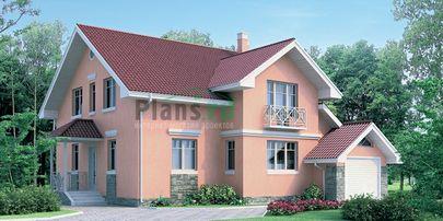 Проект дома с мансардой 12x10 метров, общей площадью 166 м2, из газобетона (пеноблоков), c гаражом и котельной