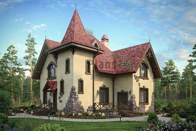 Проект дома с мансардой 12x10 метров, общей площадью 172 м2, из кирпича, c террасой, котельной и кухней-столовой