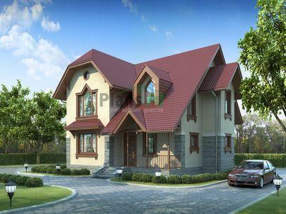 Проект дома с мансардой 12x10 метров, общей площадью 174 м2, из кирпича, c террасой и котельной