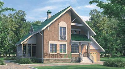 Проект дома с мансардой 12x10 метров, общей площадью 209 м2, из керамических блоков, c гаражом