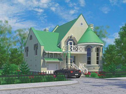 Проект дома с мансардой 12x10 метров, общей площадью 221 м2, из газобетона (пеноблоков), со вторым светом, c гаражом