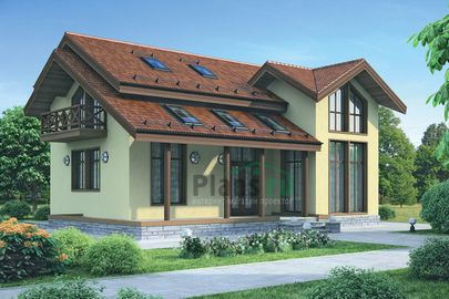 Проект дома с мансардой 12x10 метров, общей площадью 224 м2, каркасного типа, со вторым светом, c террасой и кухней-столовой