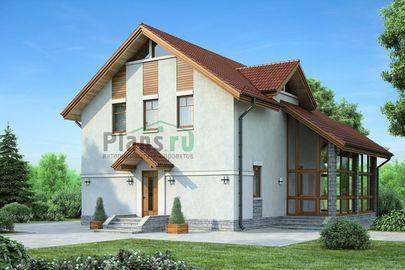 Проект дома с мансардой 12x11 метров, общей площадью 125 м2, из газобетона (пеноблоков), c террасой и котельной