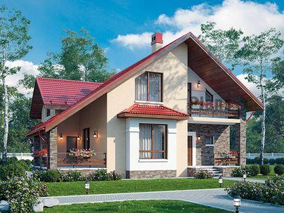 Проект дома с мансардой 12x11 метров, общей площадью 151 м2, из газобетона (пеноблоков), c террасой, котельной и кухней-столовой