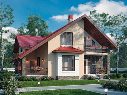 Проект дома с мансардой 12x11 метров, общей площадью 151 м2, из керамических блоков, c террасой, котельной и кухней-столовой