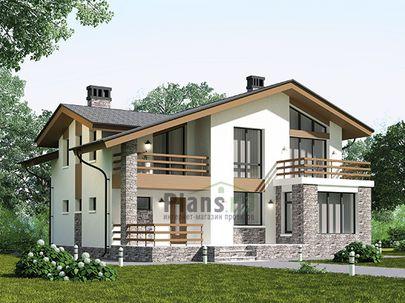 Проект дома с мансардой 12x11 метров, общей площадью 153 м2, из газобетона (пеноблоков), c террасой, котельной и кухней-столовой
