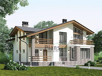 Проект дома с мансардой 12x11 метров, общей площадью 153 м2, из керамических блоков, c террасой, котельной и кухней-столовой