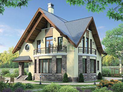 Проект дома с мансардой 12x11 метров, общей площадью 161 м2, из газобетона (пеноблоков), c котельной и кухней-столовой