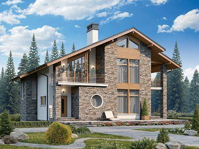 Проект дома с мансардой 12x11 метров, общей площадью 161 м2, из газобетона (пеноблоков), со вторым светом, c террасой, котельной и кухней-столовой