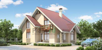 Проект дома с мансардой 12x11 метров, общей площадью 163 м2, из газобетона (пеноблоков), c террасой, котельной и кухней-столовой