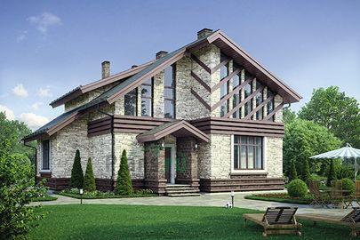 Проект дома с мансардой 12x11 метров, общей площадью 165 м2, из кирпича, c котельной и кухней-столовой