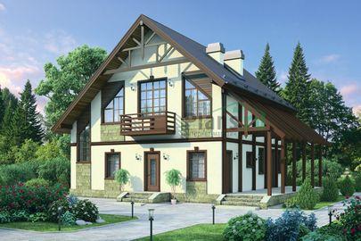 Проект дома с мансардой 12x11 метров, общей площадью 168 м2, из газобетона (пеноблоков), c террасой, котельной и кухней-столовой
