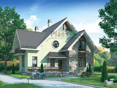 Проект дома с мансардой 12x11 метров, общей площадью 177 м2, из кирпича, c террасой, котельной и кухней-столовой