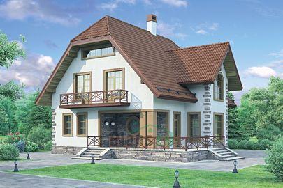Проект дома с мансардой 12x11 метров, общей площадью 183 м2, из кирпича, c террасой, котельной и кухней-столовой