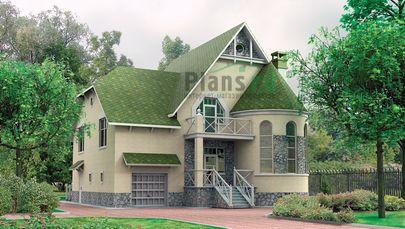 Проект дома с мансардой 12x11 метров, общей площадью 239 м2, из газобетона (пеноблоков), со вторым светом, c гаражом