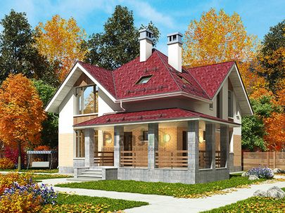 Проект дома с мансардой 12x12 метров, общей площадью 142 м2, из керамических блоков, c террасой, котельной и кухней-столовой
