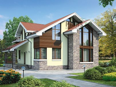 Проект дома с мансардой 12x12 метров, общей площадью 143 м2, из керамических блоков, со вторым светом, c террасой, котельной и кухней-столовой