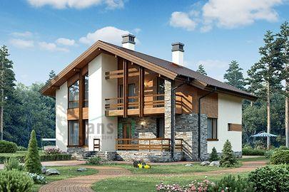 Проект дома с мансардой 12x12 метров, общей площадью 152 м2, из кирпича, c котельной и кухней-столовой