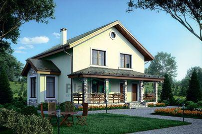 Проект дома с мансардой 12x12 метров, общей площадью 154 м2, из керамических блоков, c террасой и котельной