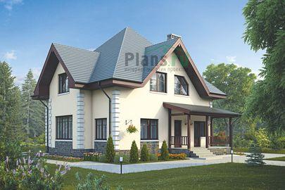 Проект дома с мансардой 12x12 метров, общей площадью 156 м2, из керамических блоков, c террасой, котельной и кухней-столовой