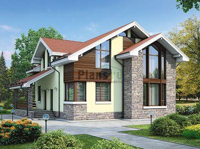 Проект дома с мансардой 12x12 метров, общей площадью 159 м2, из кирпича, со вторым светом, c террасой, котельной и кухней-столовой